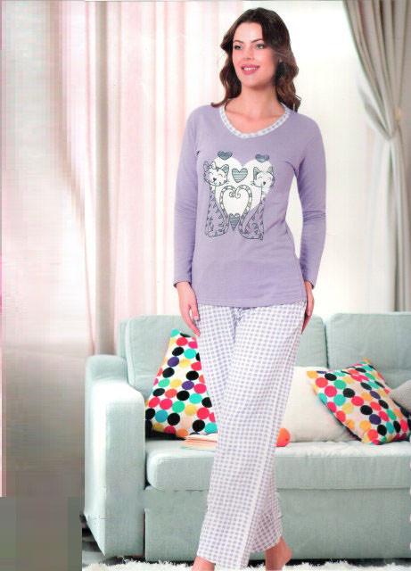 a351e303a4e3e Тёплая женская пижама на байке Турция 956 — купить недорого в ...