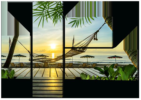 Модульная картина  Гамак на пляже