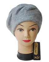 Берет Yuan Meng ( шапка-берет ) женский вязаный Nella шерсть с ангорой серого темного цвета, фото 1