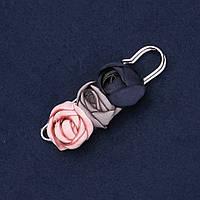 """Брошь-булавка с цветами из ткани """"Розы"""" L-7см"""