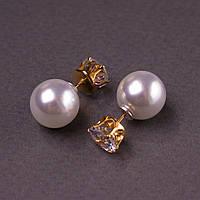 Серьги женские пусеты шары диор матрешки с кристаллом золотист. d-10мм
