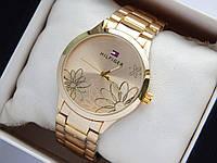 Женские наручные часы Tommy Hilfiger золотого цвета с ромашками на циферблате, фото 1