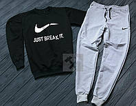 Спортивный костюм без молнии Nike черно-серый топ реплика