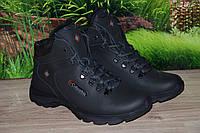 Ботинки зимние на меху кожа натуральная М44 черные размеры  40 41 42 43 44 45