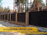 Откатные ворота с зашивкой жалюзи BonaFence 2400, 5000