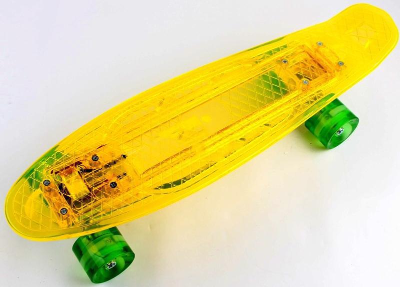 """Прозрачный Penny Board """"Light Side"""" Yellow Дека и колеса светятся Батарея Гарантия качества Быстрая доставка"""