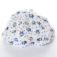 Пелёнка фленелевая для мальчиков с мишками в синих кофточках на белом фоне