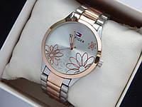 Женские наручные часы Tommy Hilfiger серебро-розовое золото с ромашками на циферблате, фото 1