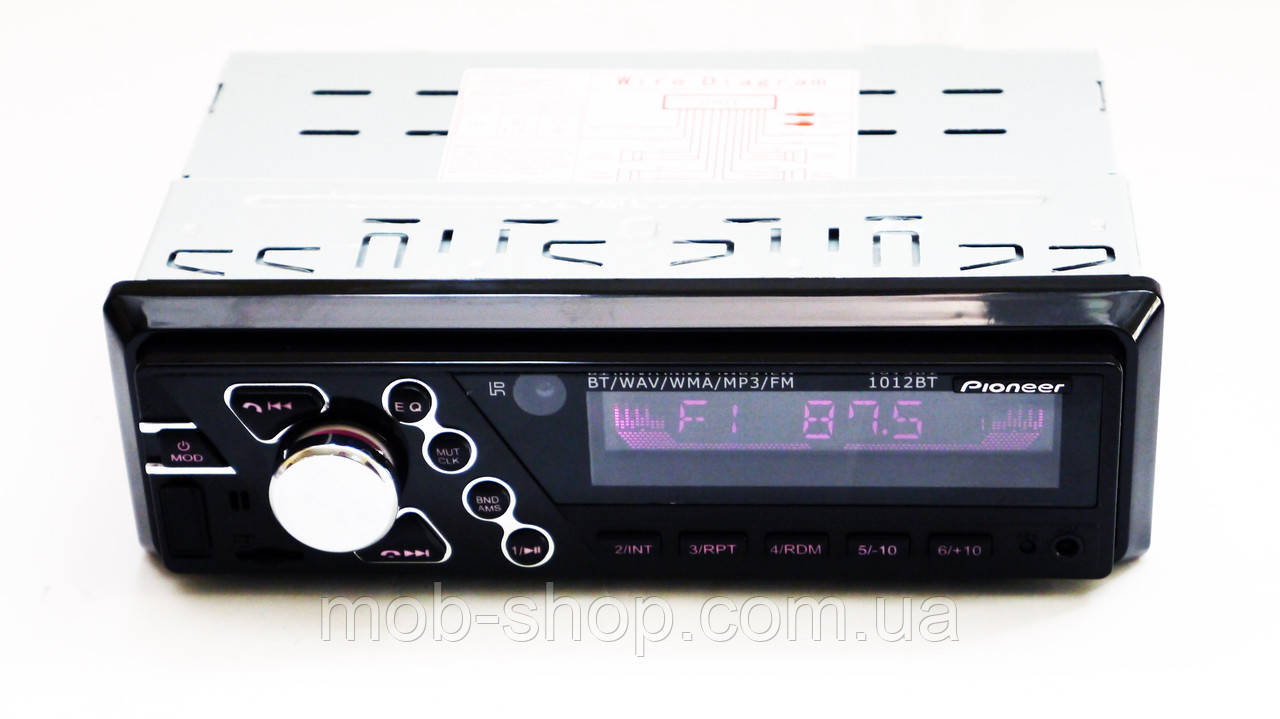 Автомагнитола пионер Pioneer 1012BT ISO RGB подсветка+Bluetooth