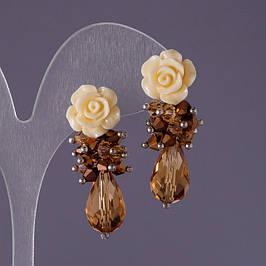 Серьги в романтическом стиле (полимерная глина, бусины, хрусталь)