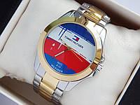 Наручні годинники Tommy Hilfiger срібло-золото з логотипом на весь циферблат, фото 1