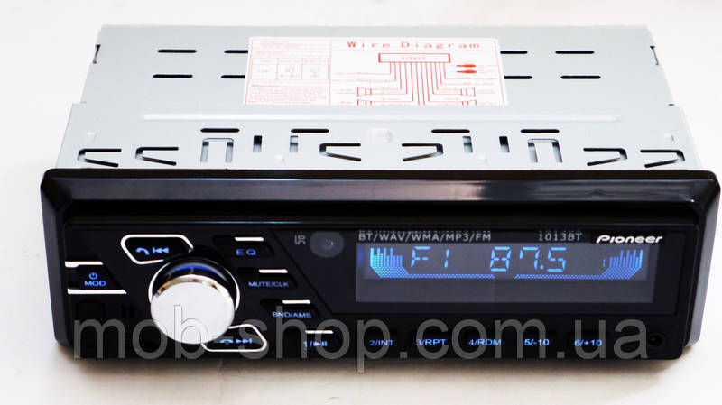 Автомагнитола пионер Pioneer 1013BT ISO RGB подсветка+Bluetooth