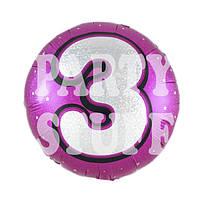 Фольгированный шарик Цифра 3 розовый, 45*45 см