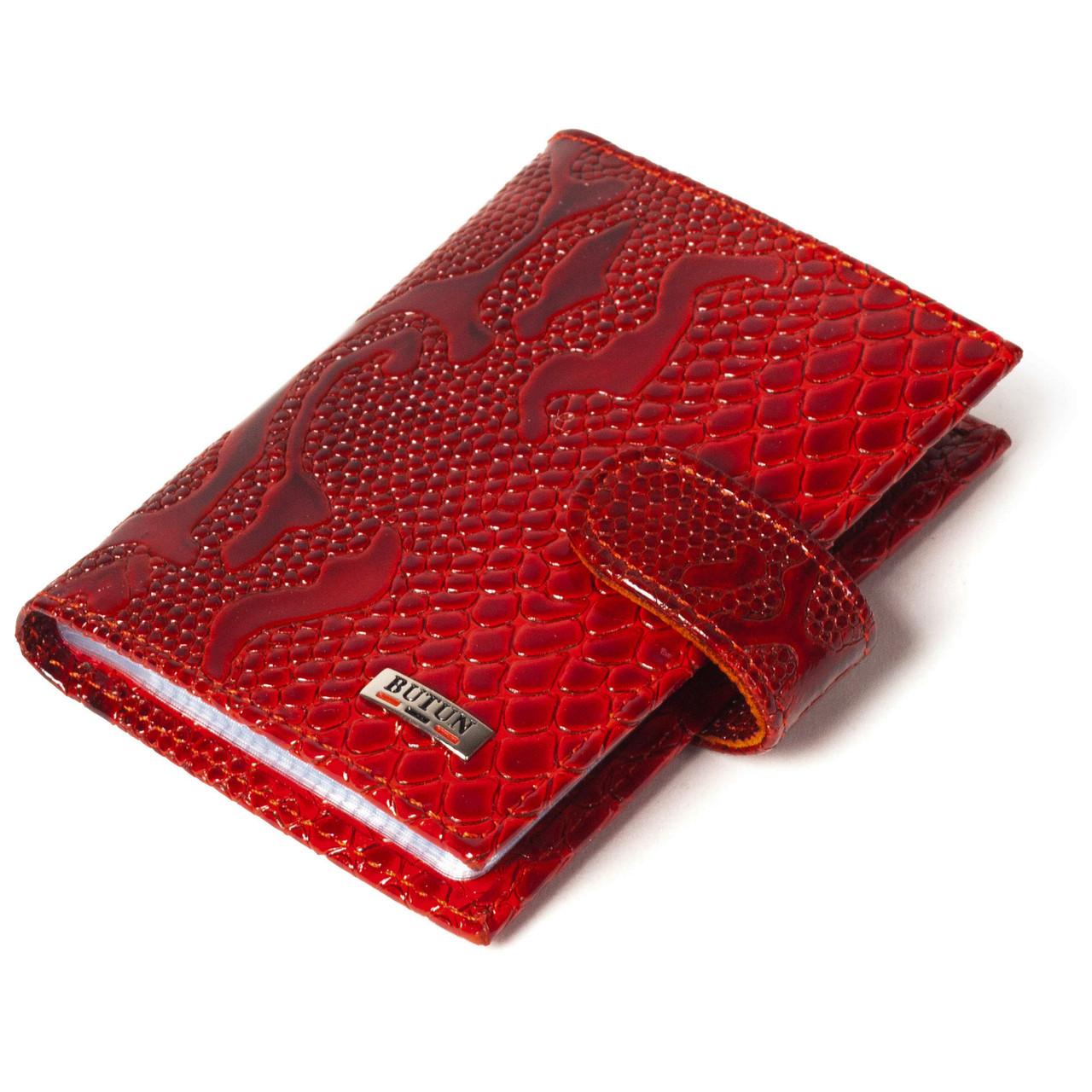 Візитниця кредитница шкіряна червона Butun 152-008-006