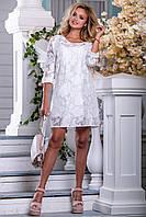 Женское платье белое, нарядное, вискоза, размер 50