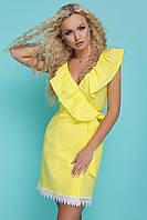 Женское платье, 44 р, летнее, сарафан с воланами, бенгалин, желтое, короткое