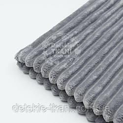 """Отрез плюша в полоску """"Stripes"""" размером 100*80 см средне-серого цвета"""