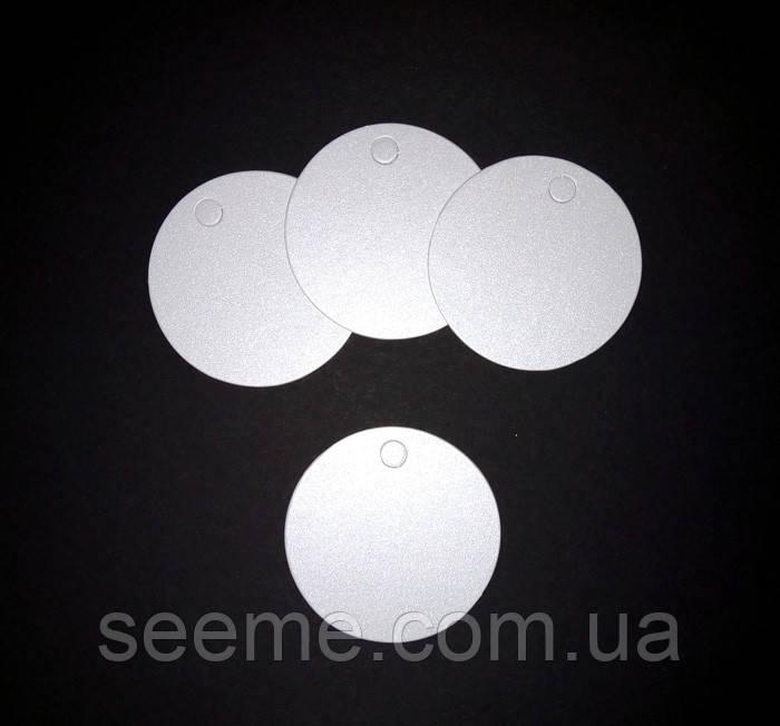 Теги з дизайнерського картону 60 мм, колір перламутровий білий, 10 шт