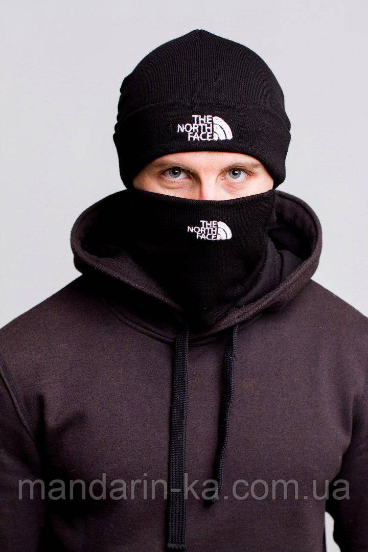 Мужской  комплект  черный   шапка  баф