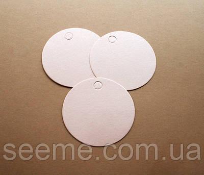 Тэги из дизайнерского картона 60 мм, цвет перламутровый персиковый, 10 шт
