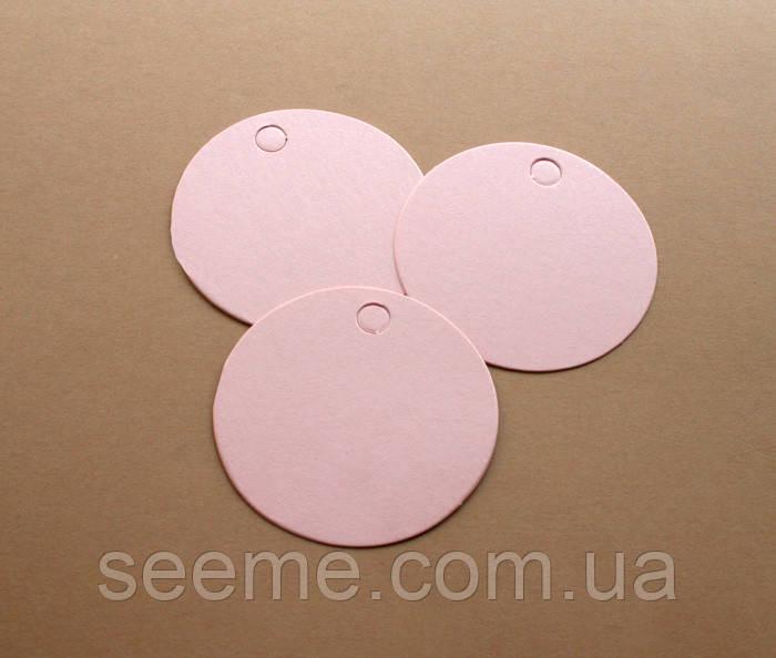 Теги з дизайнерського картону 60 мм, колір рожевий перламутровий, 10 шт