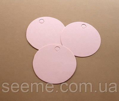 Тэги из дизайнерского картона 60 мм, цвет перламутровый розовый, 10 шт