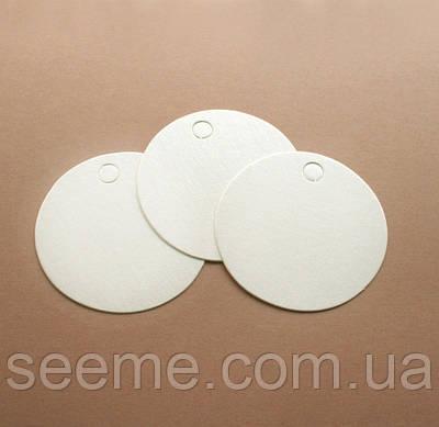 Тэги из дизайнерского картона 60 мм, цвет перламутровый молочный, 10 шт
