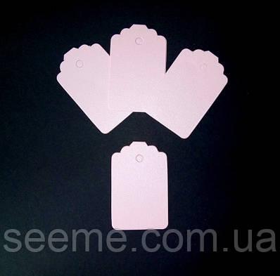 Тэги из дизайнерского картона 70x45 мм, цвет перламутровый розовый, 10 шт