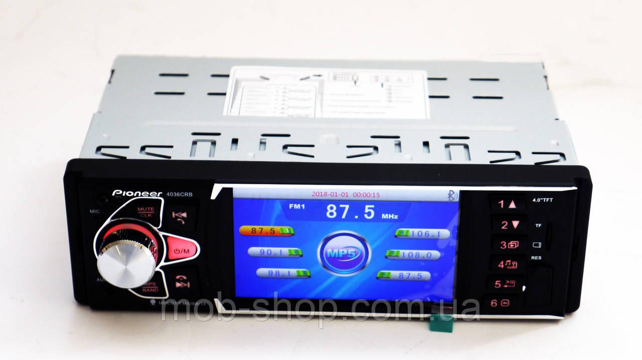 "Автомагнитола пионер Pioneer 4036 экран 4""+Bluetooth+видео вход"