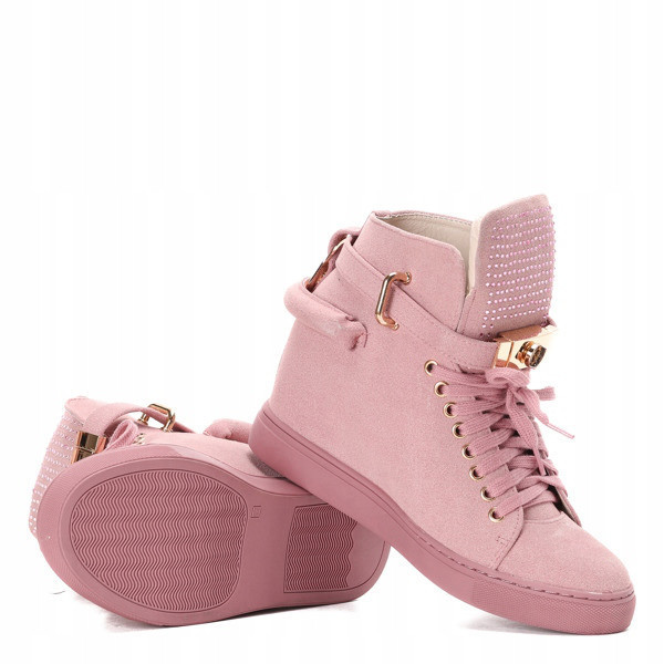 Женские высокие кроссовки розовые
