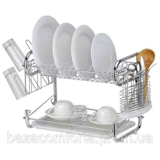 Сушилка для посуды Kamille двухъярусная 55*25*39.5см
