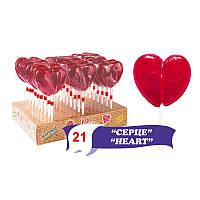 """Фігурна """"Серце"""" на паличці, 50г, смаки: вишня, малина, полуниця, дисплей 50мм """"мішковина"""""""