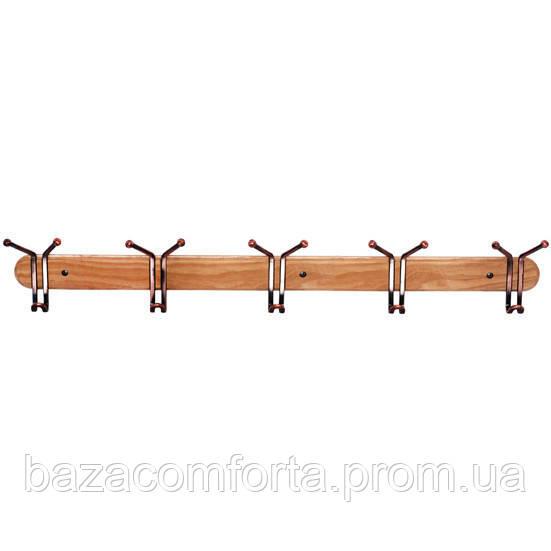 Крючки тройные Besser 5шт 80см на деревянной планке