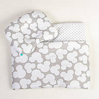 Постельное белье в детскую колыбель BabySoon три предмета Мики Серый (406)