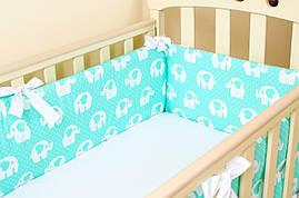 Бортики в детскую кроватку BabySoon Мятные слоники 360см х 27см  (501)