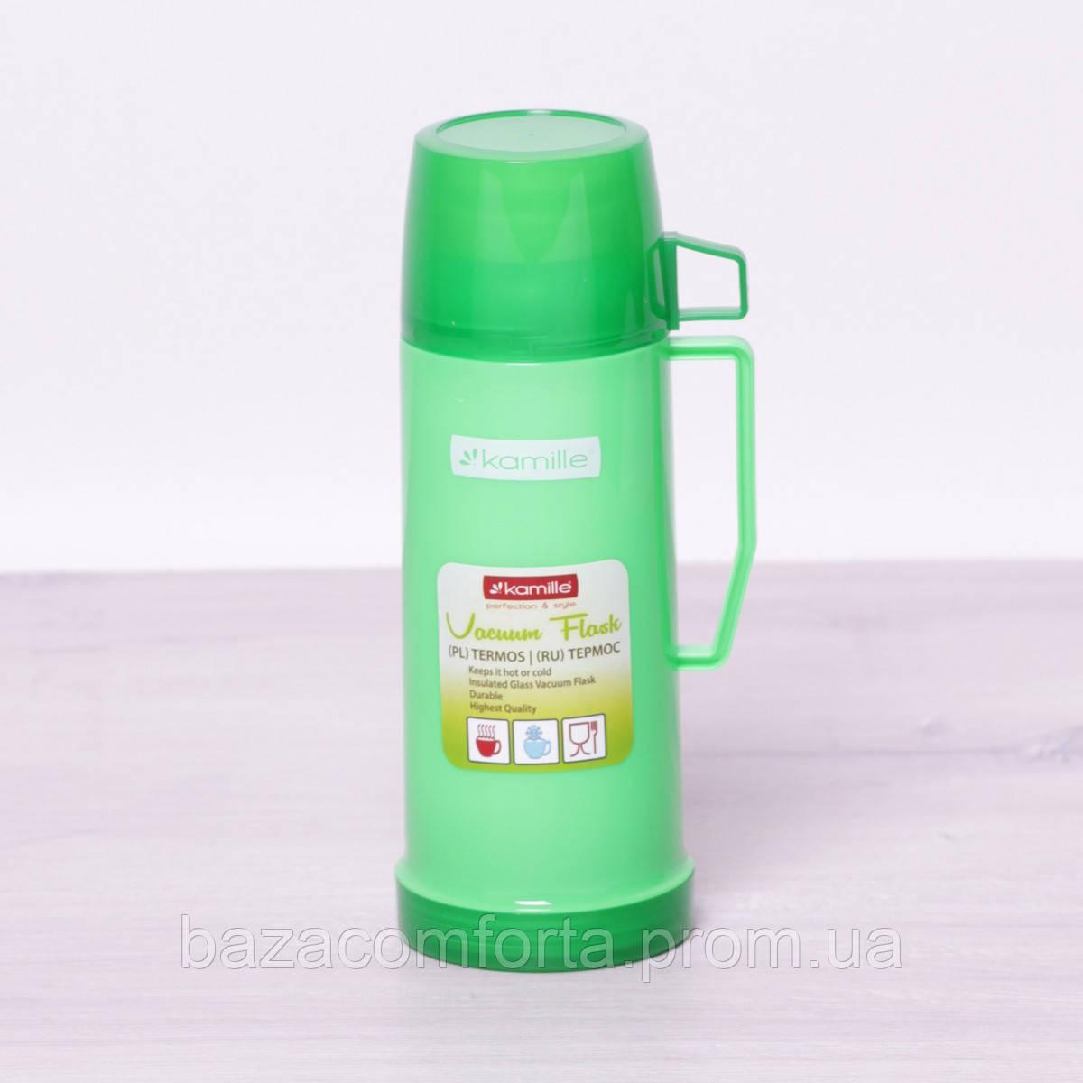Термос 2070 пластиковый со стеклянной колбой Kamille 450мл