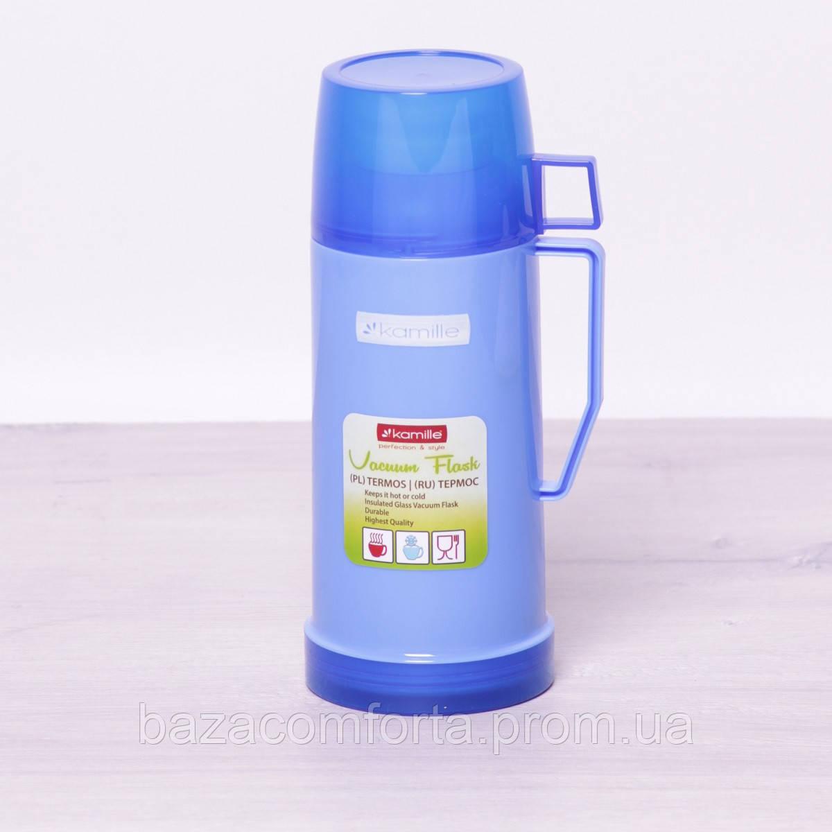 Термос 2071 пластиковый со стеклянной колбой Kamille 600мл