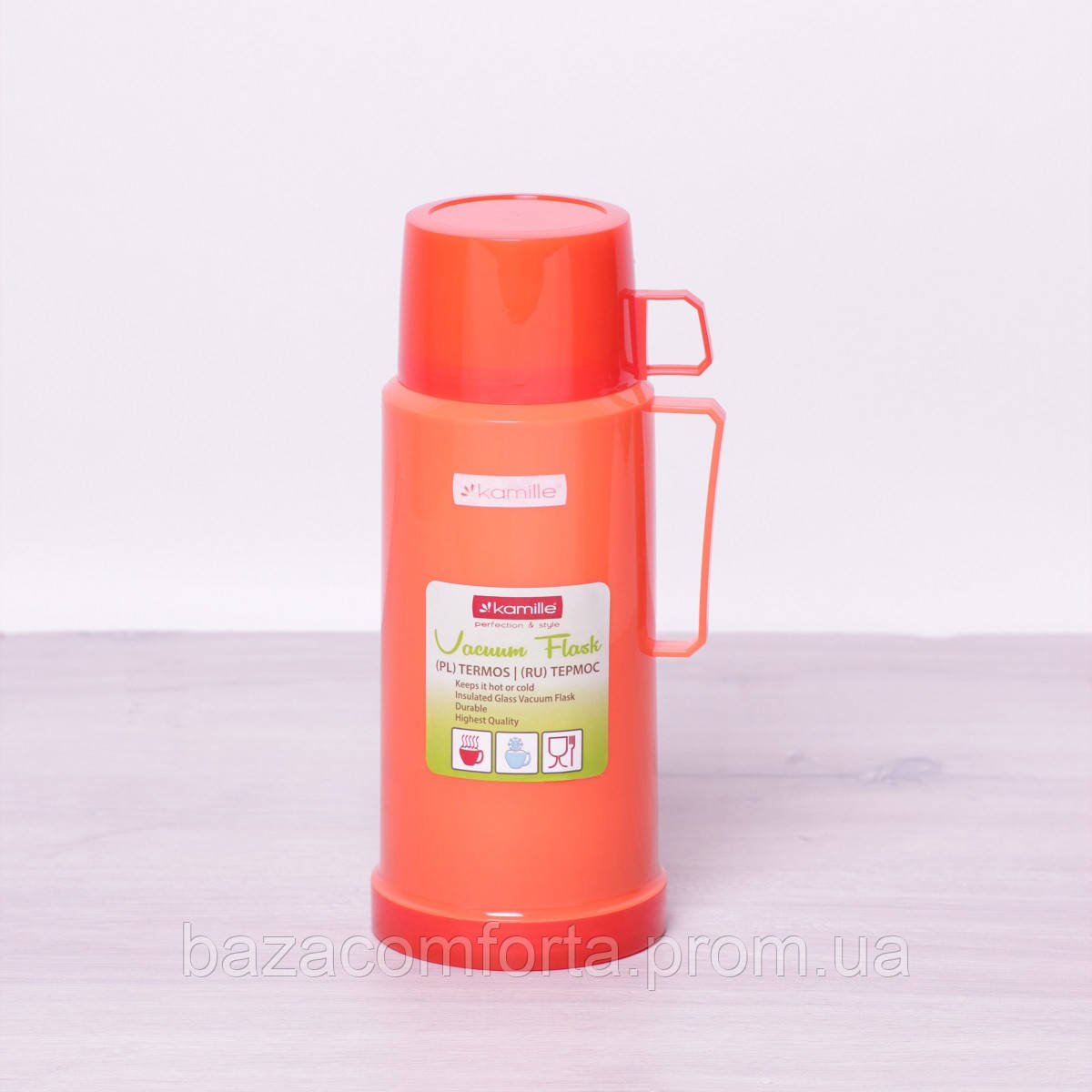 Термос 2072 пластиковый со стеклянной колбой Kamille 1000мл