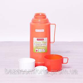 Термос 2072 пластиковый со стеклянной колбой Kamille 1000мл, фото 2
