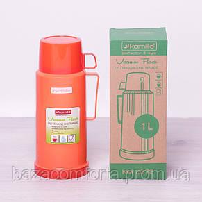 Термос 2072 пластиковый со стеклянной колбой Kamille 1000мл, фото 3