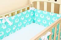 Бортики в детскую кроватку Мятные слоники BabySoon 360см х 27см + простынь на резинке 60см х 120см (518)