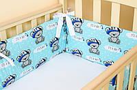 Бортики в детскую кроватку Медвежата в кепке BabySoon 360см х 27см + простынь на резинке 60см х 120см  (519)