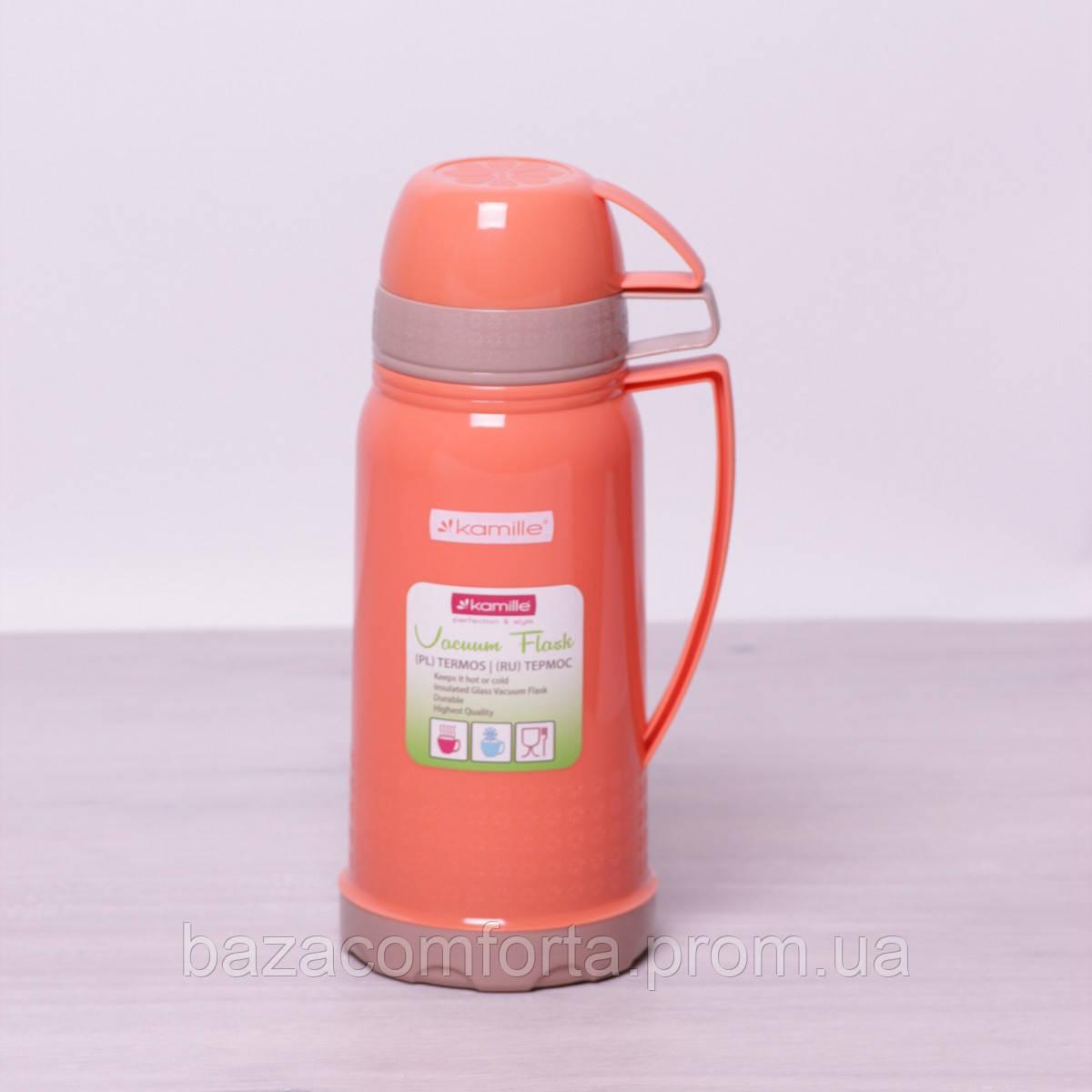 Термос 2074 пластиковый со стеклянной колбой Kamille 1000мл