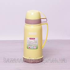 Термос 2074 пластиковый со стеклянной колбой Kamille 1000мл, фото 3