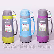 Термос 2080 пластиковый со стеклянной колбой Kamille 1000мл, фото 2