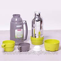 Термос 2080 пластиковый со стеклянной колбой Kamille 1000мл, фото 3