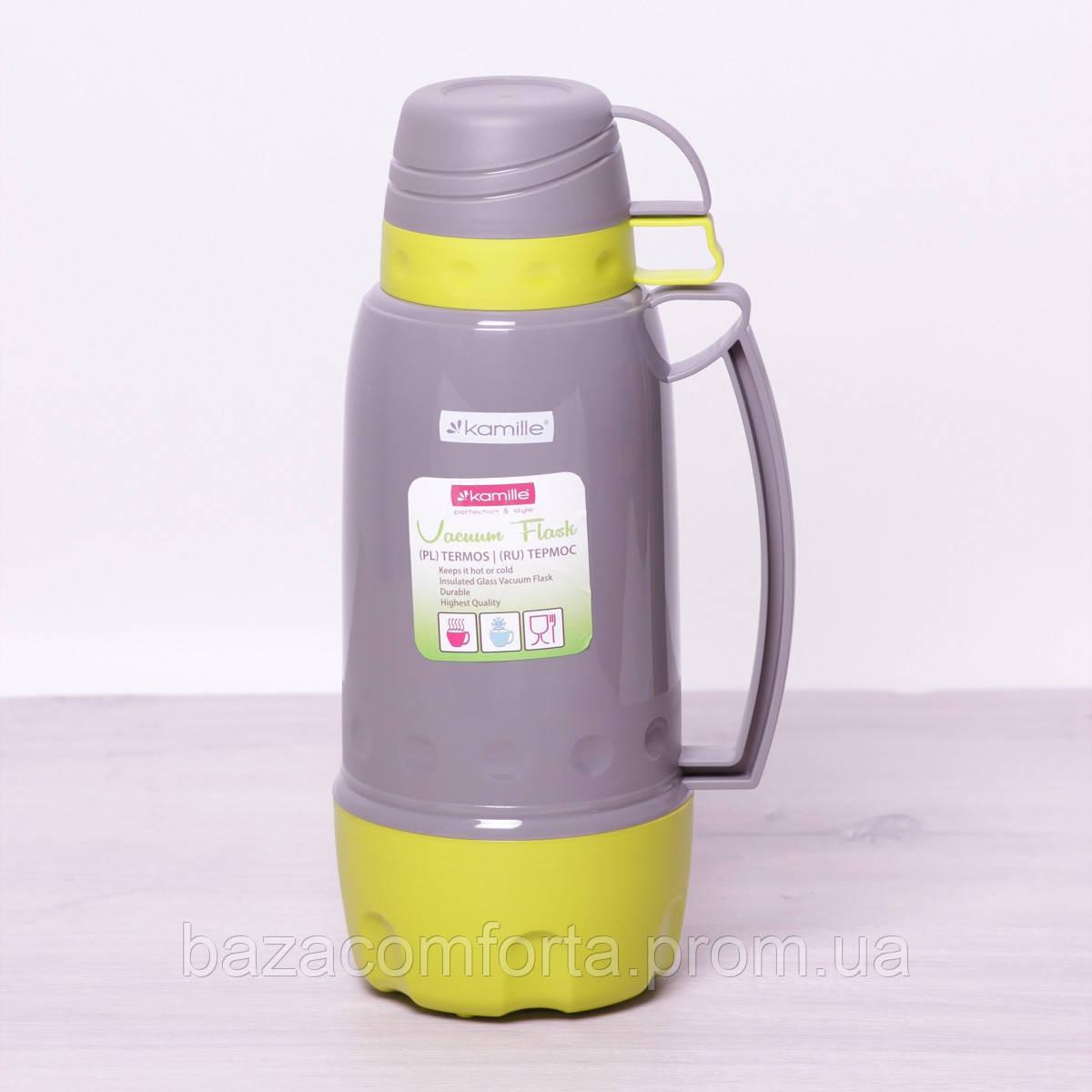 Термос 2081 пластиковый со стеклянной колбой Kamille 1800мл