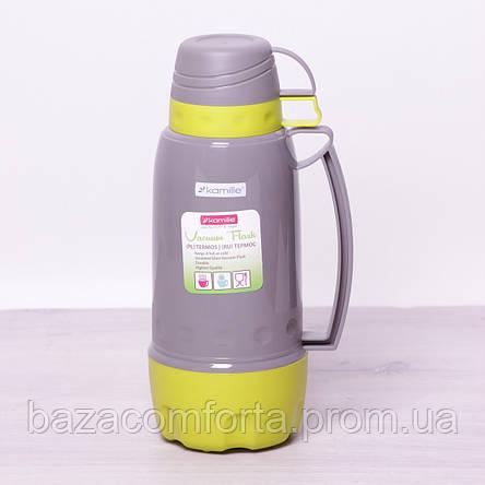 Термос 2081 пластиковый со стеклянной колбой Kamille 1800мл, фото 2