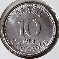 Монета Бразилии 10 крузейро 1988 г.