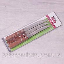 Набор стейковых ножей Kamille 6 предметов из нержавеющей стали с деревянными ручками